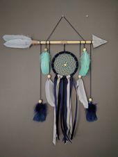 Arrow nursery dream catcher / Navy blue gray mint large baby mobile / Arrow wall hanging / Baby boy dreamcatcher gift