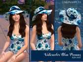 neinahpets' Watercolor Blue Peony Sun Hat – Sims 4 CC and Mods