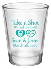 wedding ceremony shot glasses, take a shot we tied the knot, personalised shot glasses