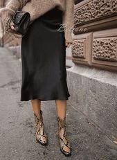 Silk skirt midi long fall look black a-line skirt outfit Silk slip bias black wear street style looks Silk fall trends long women skirt