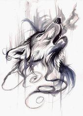 Diseño original del tatuaje del lobo swirly que respira con humo por Lucky978   – Wolves