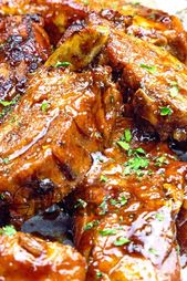 Succulent pork back ribs cooked in beer and coated with a special roadhouse sauc…
