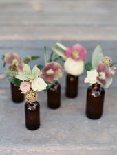 Table Decorations Wedding Rehearsal Dinner. Set of 3 Amber Brown Bottles Vases w…