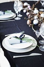 black and dark blue christmas table – Google Search