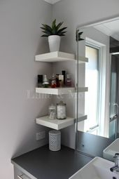 Squeeze a Little Extra Storage Out of a Small Bathroom Using Ikea Lack Shelves.