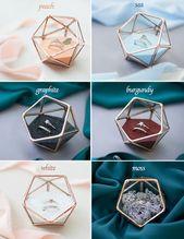 Ring Box, Ring Bearer Box, Glas Ehering Halter, Vorschlag Ring Box, geometrische Ringkissen, geometrische Terrarium (JB17)