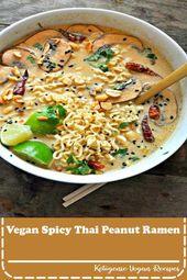 The best vegan ramen soup with a spicy Thai peanut broth. #veganrecipes