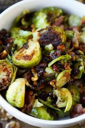 Oven roasted Brussels sprouts with bacon   – Vegetable side dishes