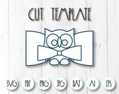 Owl bow template svg, Hair bow svg template, Bow svg template for Cricut, DIY owl bow template printable