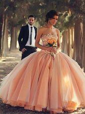Ausgestattetes Abendkleid, Ballkleid Ärmellos Trägerlos Perlenstickerei Bodenlange Tüllkleider YB33PO942