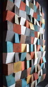 Geometric wood art, wood art, 3D wall art, abstract painting on wood, wall mounting, wood pattern, wood mosaic, wood wall panels   – Haus