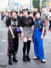 Harajuku Girls mit Faith Tokyo Umhängetaschen, Funktique Top, Zebra Minirock & … – J-Fashion