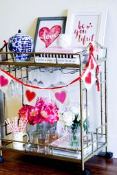 Valentine's Day Inspired Bar Cart | Galentine's party decor ideas | @shelbslv | ...