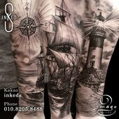 sailboat black and gey tattoo. tattooed by IMAGE tattooer of Inked S Taoo shop