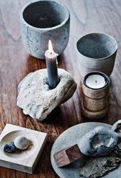 Kerzenhalter Suchen Sie nach einem hohlen Stein, der perfekt zu einer Kerze passt. Bei Bedarf abtropfen lassen …