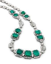 The Art Déco emerald and diamond necklace by @cha…