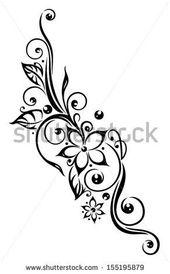 Stilisierte schwarze Blumen-Illustration, Stammes- Tätowierungs-Art. – 155195879: Fensterläde…