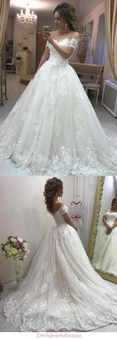 Gorgeous Ball Gown Off the Shoulder Sweetheart Open Back Tulle Lace Wedding Dresses uk JS205