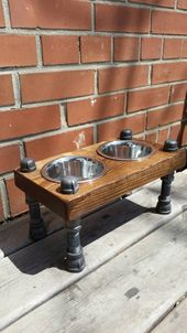 Rustic industrial pipe and wood pet feeder | rustic elevated dog bowl feeder | elevated pet feeding bowls | elevated cat feeder