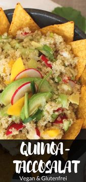 Vegan quinoa and tacco salad with avocado and mango