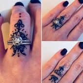 Tattoo matching the ring. #tattoo #finger tattoo #finger #ring # accessories # i…