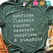 Bonfires Flannels S'mores Sweaters Campfires And Pumpkins |Fall SVG, PNG, DXF Silhouette Cameo and Cricut Files