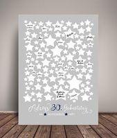 POSTER DEL LIBRO DE INVITADOS, Cumpleaños, Estrellas, Gris Azul, Personalizado, A3   – Bennis 30.