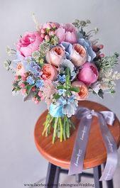 Gartenrose, Pfingstrosen mit einer Mischung aus Hortensien und Stecklingen   – Bouquets