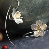 Flower earrings 925 silver