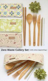 ECO FRIENDLY GIFTS pour les femmes, Zéro déchet de papierite en bambou classic upcycled Pochette de coutellerie en coton brodé avec ustensiles en bambou