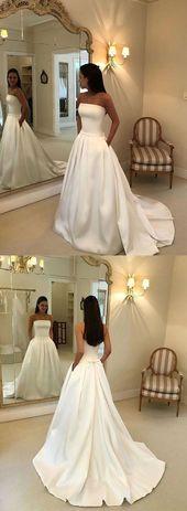 White satin long prom dress, white evening dress