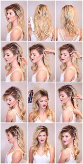 #Einfach #Frisuren Haar Schnelle und einfache Frisuren für mittellanges Haar: Fotos von einfachen Tutorials #EinfachFrisuren #EinfachFrisuren