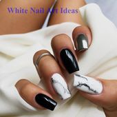 Nails in white marble, black and silver. Beautiful…