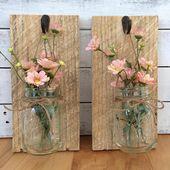 Handgemachte Weckglas Wandlampen Die Leuchte ist handgefertigt aus Altholz und es kommt mit schönen Kunstblumen Sie könnten auch frische Blumen in dieser Wandbe…