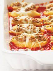 Coquilles géantes farcies au veau et aux champignons   – Pâtes italiennes