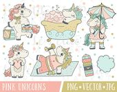 Kawaii Planner Unicorn Clipart Set, Digital Unicorn Stickers, Premium Unicorn Vector Clipart Images,