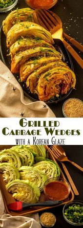 Grilled Cabbage Wedges with a Korean Glaze