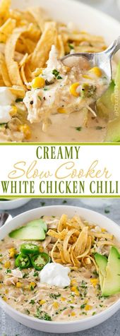 Slow Cooker Creamy White Chicken Chili This Creamy White Chicken Chili Is Made Easy In The Slow Cooker Recipes White Chicken Chili Slow Cooker Cooker Recipes