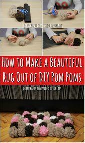 Wie macht man einen schönen Teppich aus DIY Pom Poms