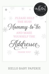 Address An Envelope Sign, Baby It's Cold Outside, Baby Shower Girl, Snowflake, Pink Baby Shower  – Winter Wonderland Baby Shower
