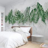 Watercolor Hand Painted Fresh Tropical Leaves Wallpaper Wall Mural, Tropical Leaves Seevral Green Tropical Leaf Mable Textured Wall Mural
