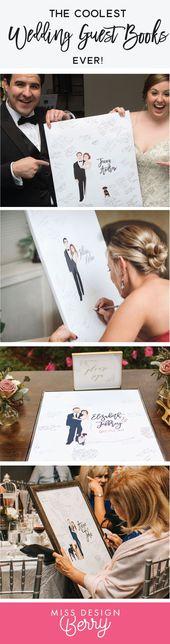 Hochzeits-Gästebuch-Alternative mit Paar-Porträt – der Penny – Wedding♡