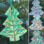 Salt Dough Christmas Tree Ornaments Hand Painted With Branches and Baubles Christmas Birthday Special Occasion Home Decor – Unique Handmade