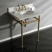 Templeton Carrara Marble Rectangular Console Sinks Bathroom Sink with Overflow