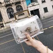 Wit borduurwerk binnenzak Duidelijke zak schoudertas met kettingzak te koop …   – Tasche