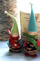 DIY Weihnachtsfiguren mit Tannenzapfen! 15 Ideen, um Sie zu begeistern