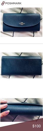 HP! Coach Crossgrain Leather Slim Envelope Wallet Coach Crossgrain Leather Slim …