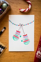 DIY: Christmas cards with watercolors – tea & twigs