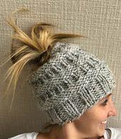 Gray Messy Bun Knitted Hat  – diy