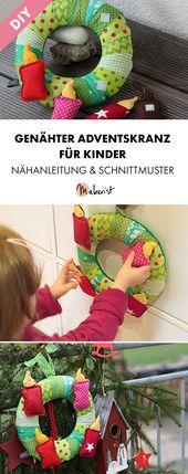 Adventskranz für Kinder mit Klettverschluss – Nähanleitung und Schnittmuster über …   – DIY Weihnachtsdeko